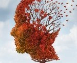 human mind concept with leaves blowing away from tree