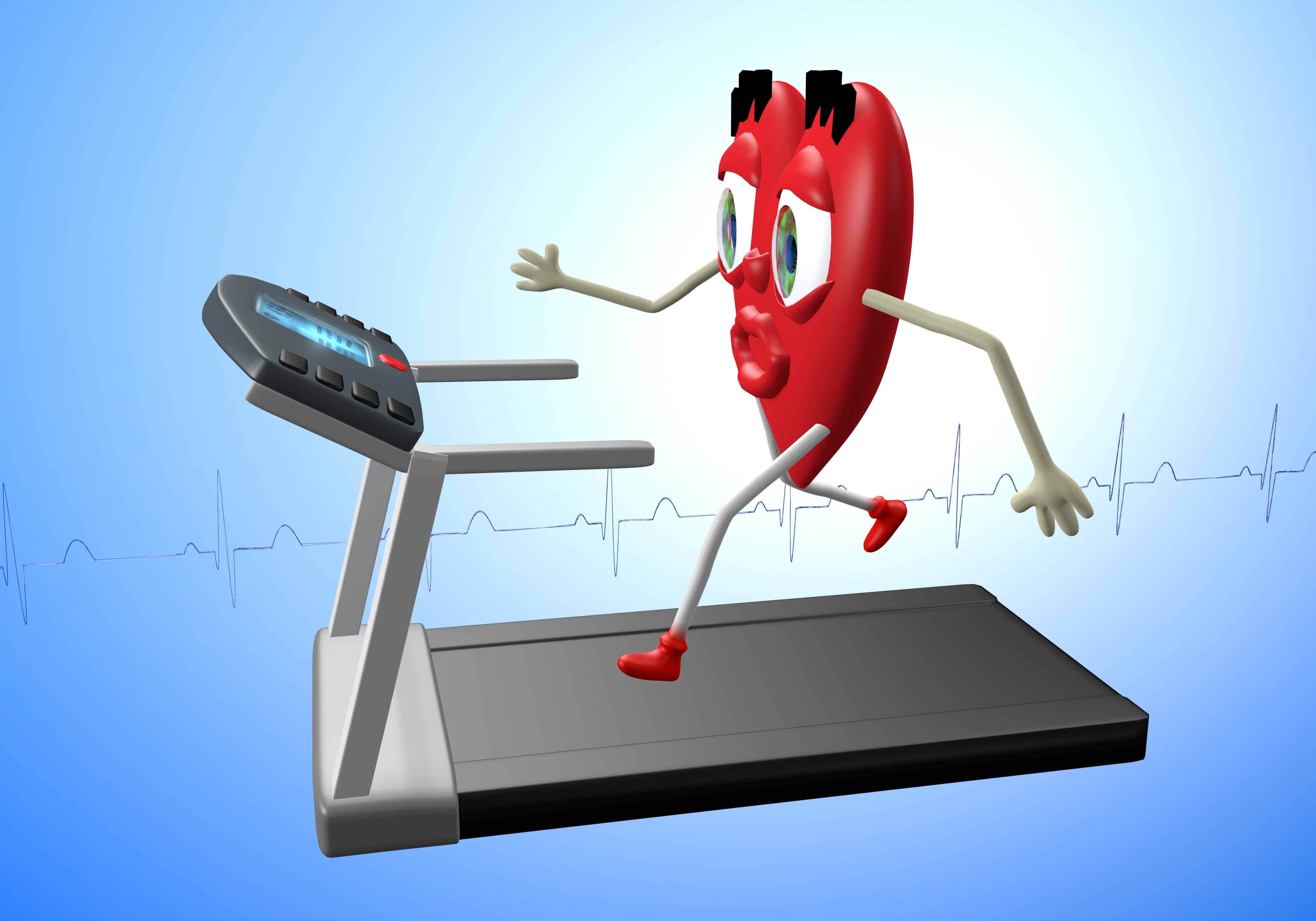 Heart character exercising on treadmill, concept of heart health, cardio exercise, fitness