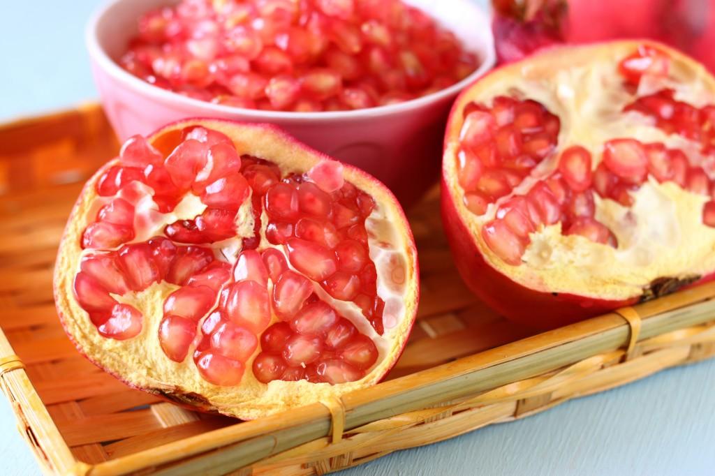 Pomegrante fruit sliced in half