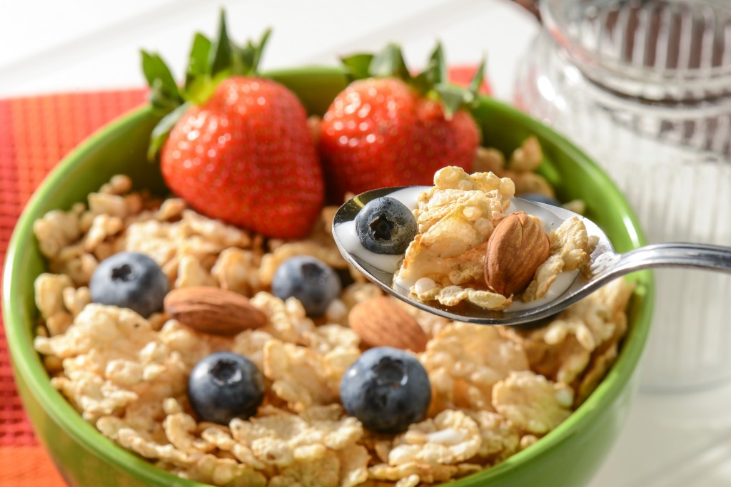 High Fiber Bowl of Cereal with Strawberries, Blueberries and Almonds