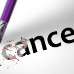 Pencil erasing the word cancer