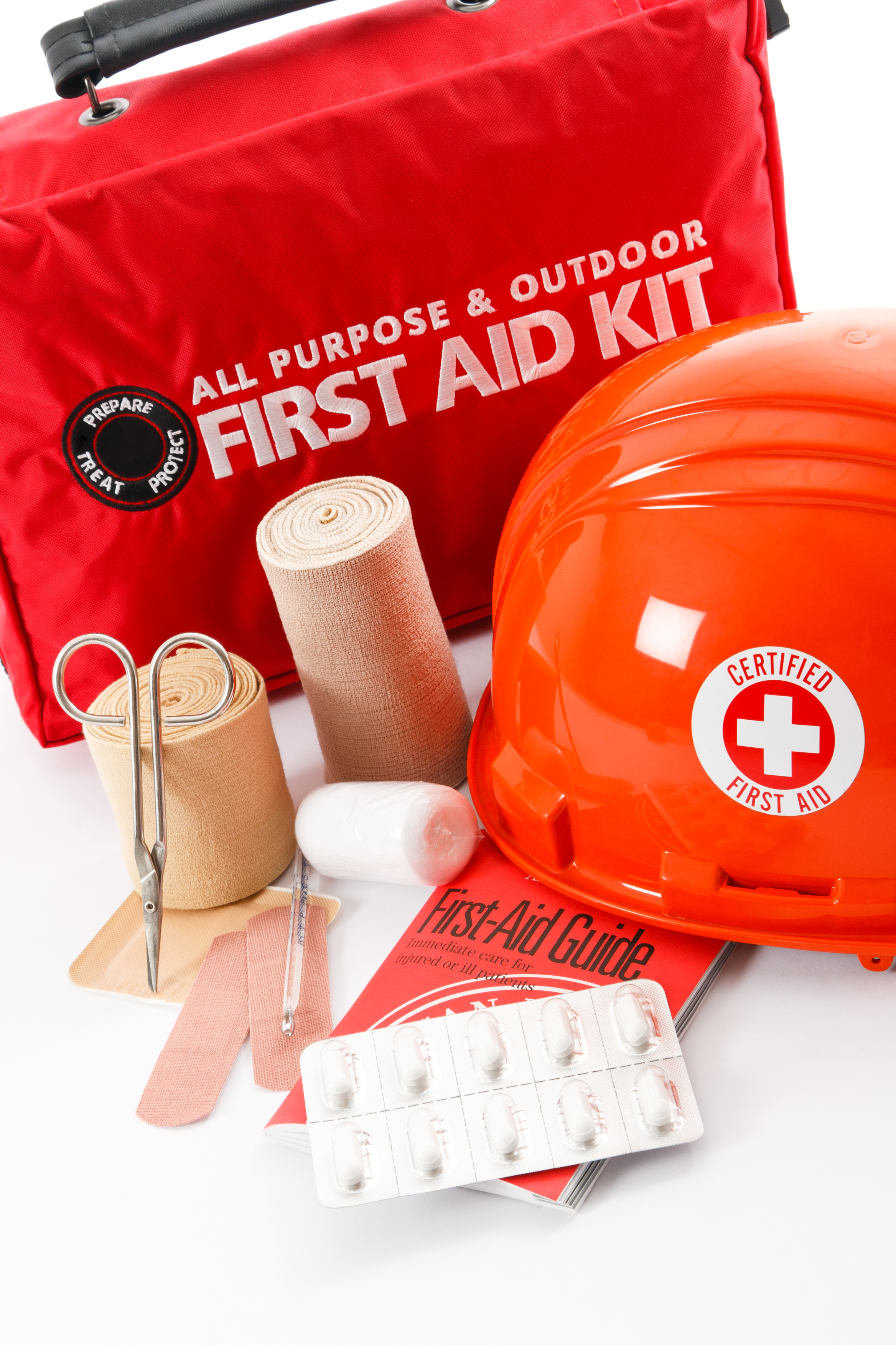 First Aid kit with bandages and scissors
