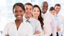 diverse group of young African American and caucasian professionals