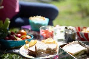 picnic foods on a blanket