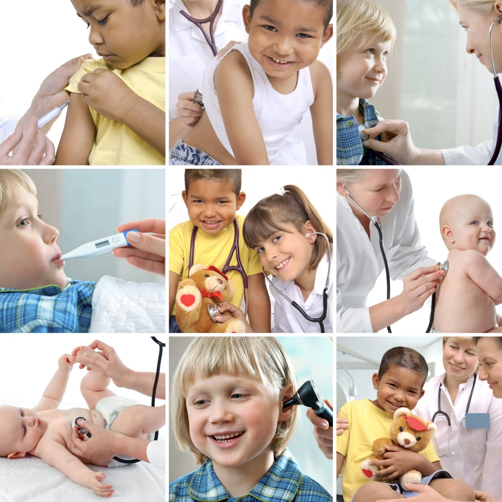 collage of images related to health care with diversity of children