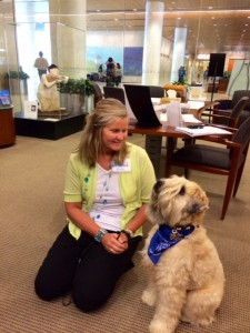 Caring Canines Wheaten Terrier with owner at Mayo Clinic Cancer Center