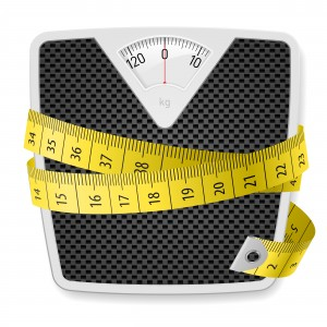 weight scale wrapped with a yellow measuring tape
