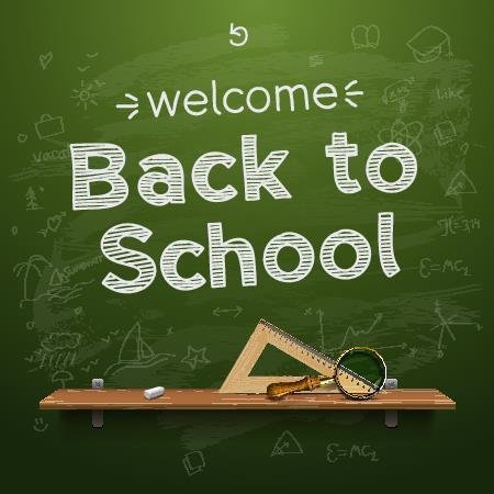 welcome back to school written on chalkboard
