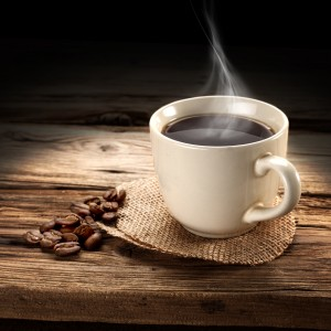 white coffee cup with steam rising