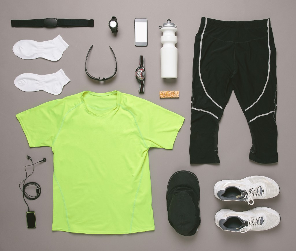 running and exercise clothes and equipment gear