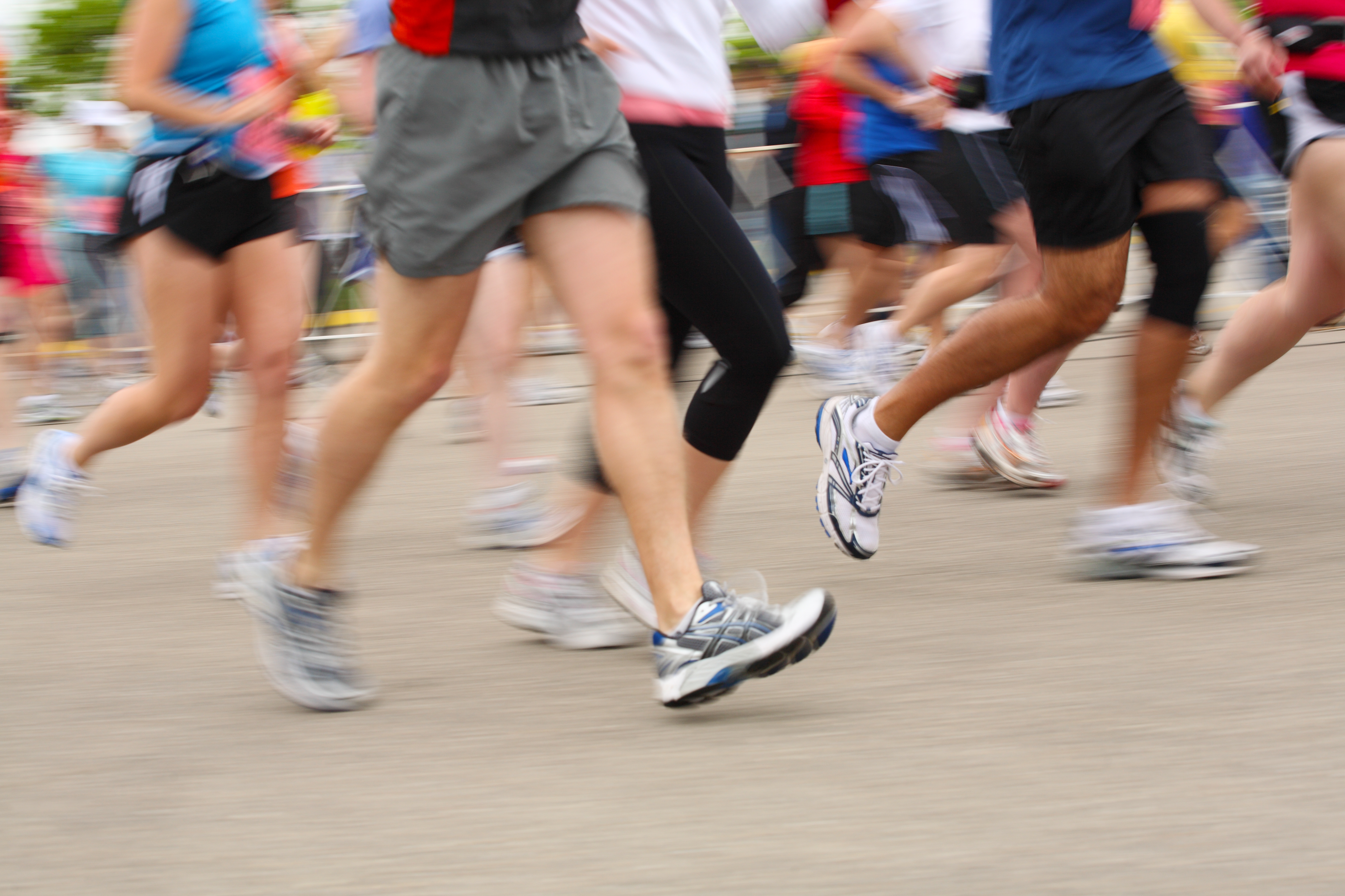 crowd of runners running in marathon or race