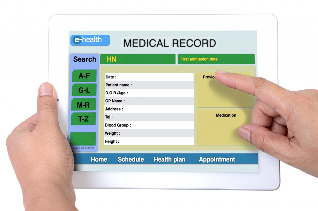 computer tablet image for medical record form representing electronic health (e-health)