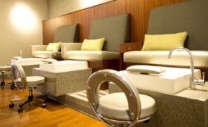 Pedicure chairs and tubs at Rejuvenate at the Mayo Clinic Healthy Living Program.