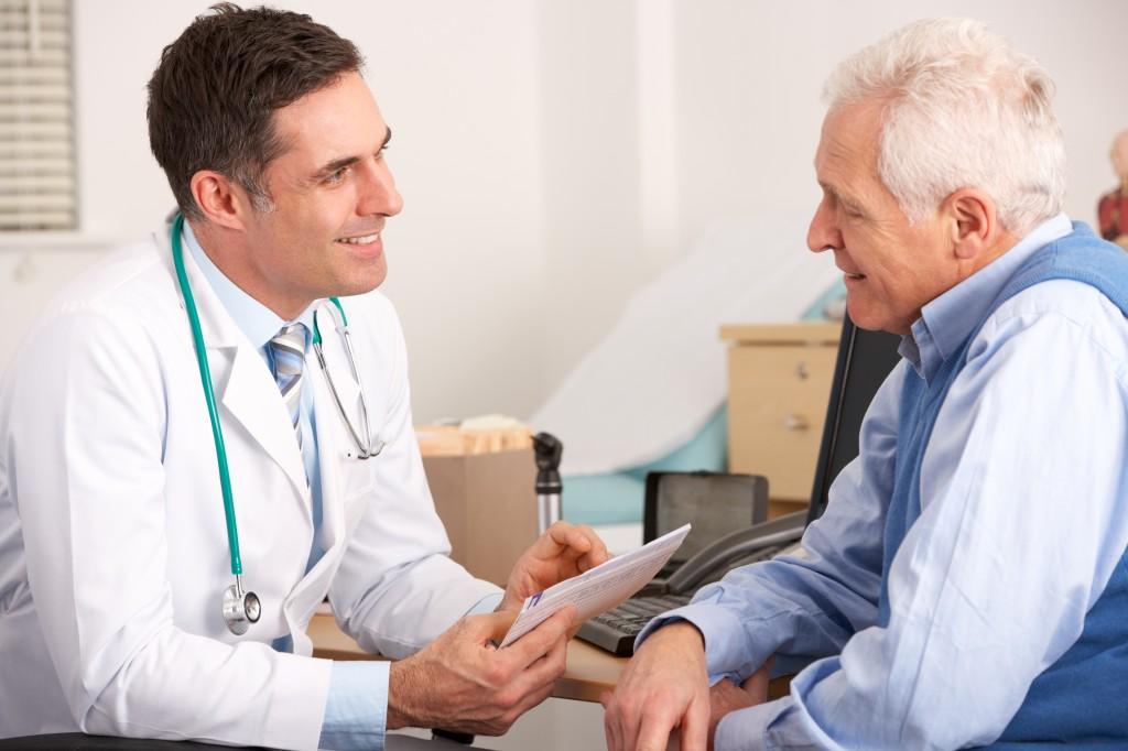 Doctor with elderly man