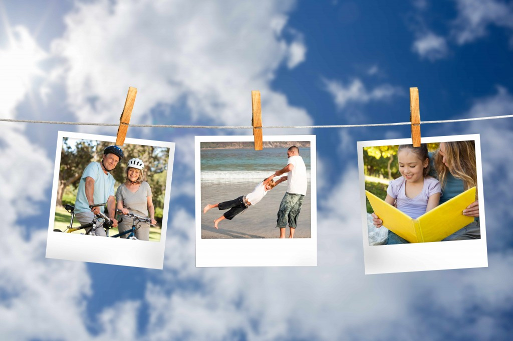 photograph memories hanging on a clothesline