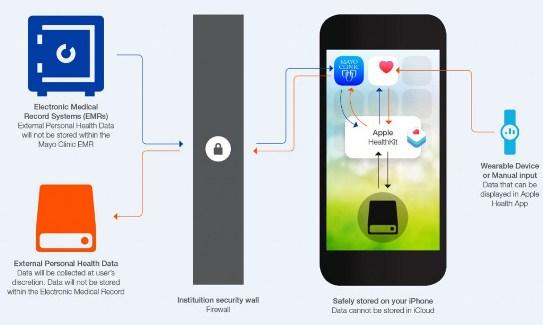 Gráfico informativo sobre la seguridad del HealthKit en el iPhone
