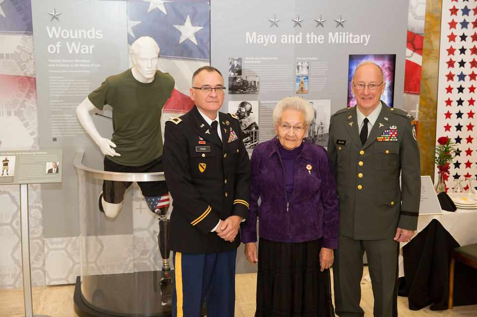 Marcella LeBeau 95-year old Native American (Lakota) World War II Army Nursing Corp vet with military personell - Veteran's Day