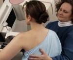 Woman having a mammogram