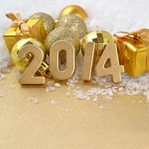 holiday ornaments and gifts with the year 2014