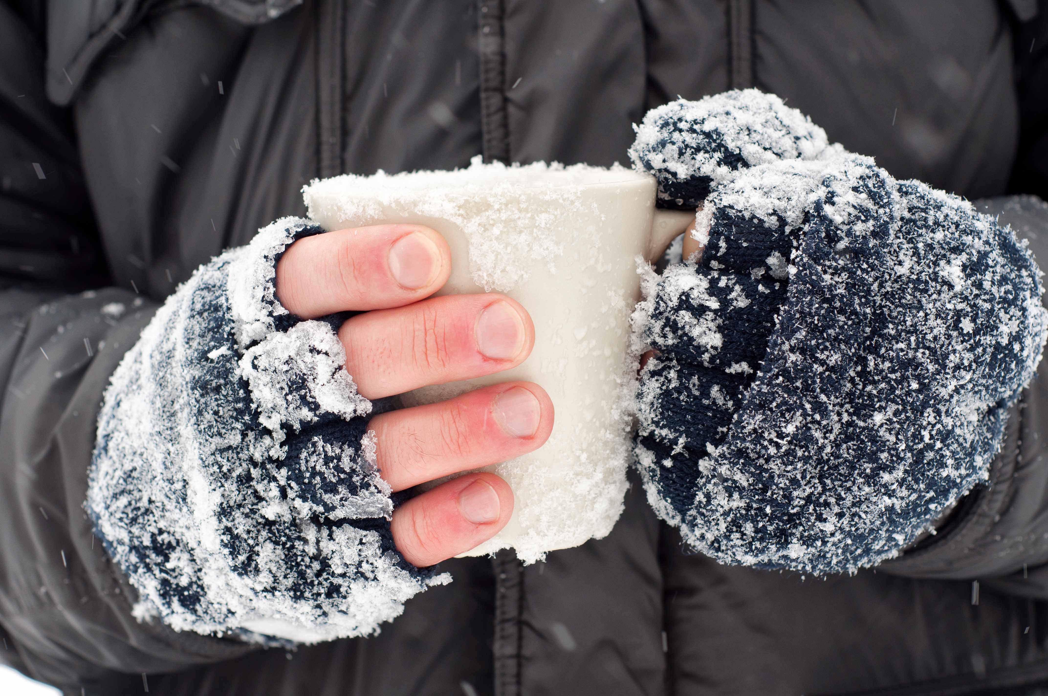 closeup of frozen hands covered in snow holding a cup