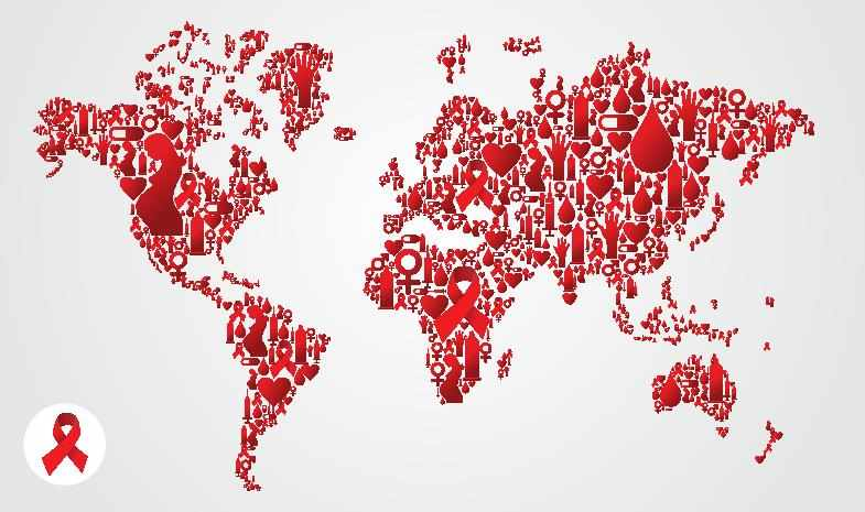 world globe with red hearts and ribbons for World Aids Day