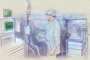 Ilustración de un anestesiólogo trabajando dentro del quirófano durante una cirugía