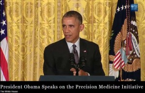 President Obama addressing patients, researchers, physicians about Precision Medicine