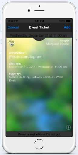 closeup of Mayo Clinic event ticket app