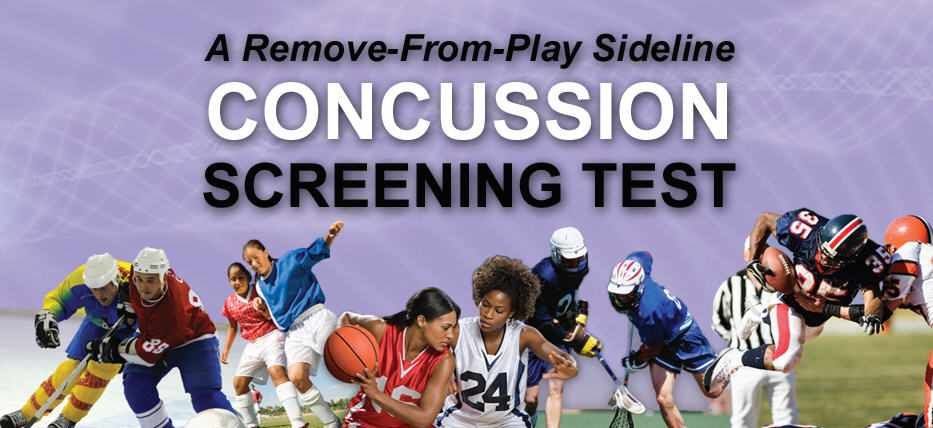 concussion screening test logo with sports pictures