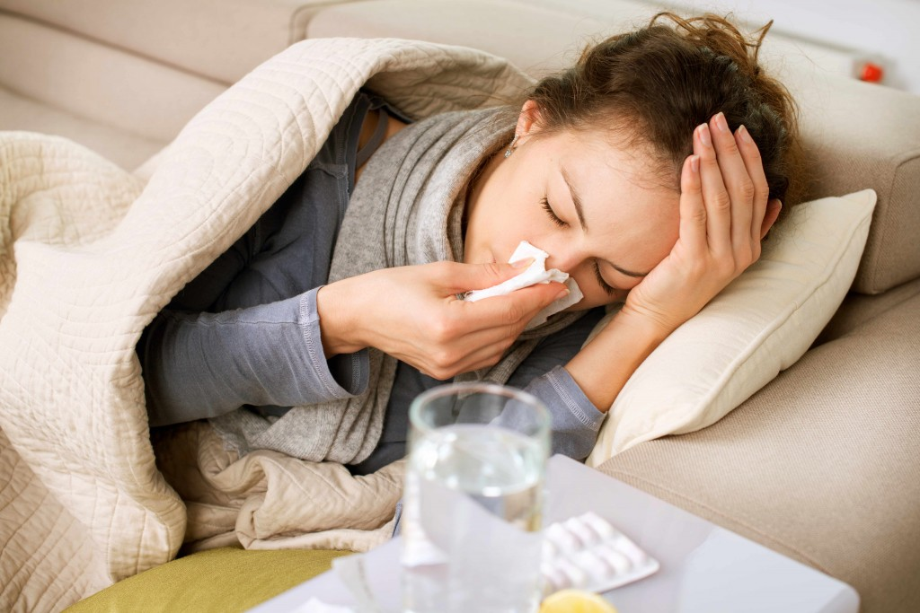 sick woman, flu, cold, tissue, headache, virus, sore throat, glass of water