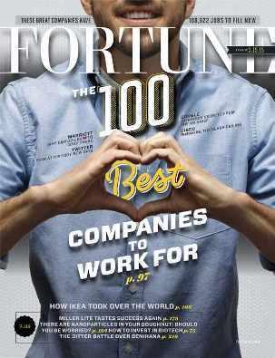 """Portada de la revista Fortune con unas manos masculinas que forman un corazón y las palabras """"Las mejores 100 compañías para trabajar"""""""