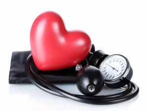 Image of heart wrapped in blood pressure monitor