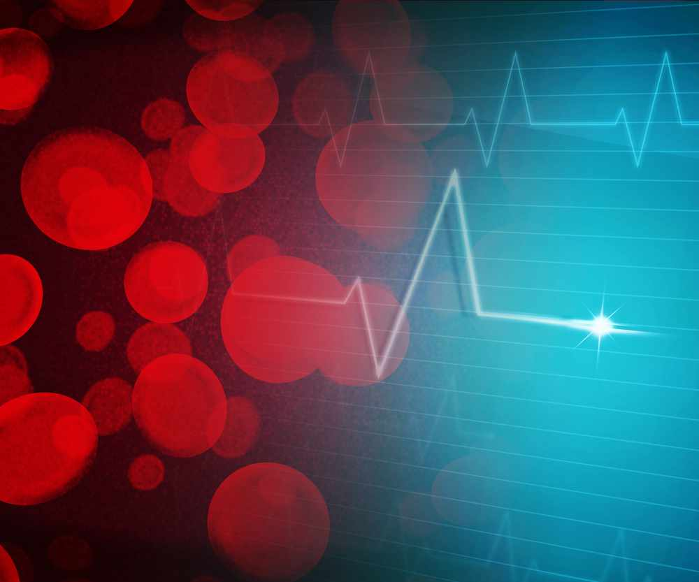blood pressure concept of blood cells and heart monitor