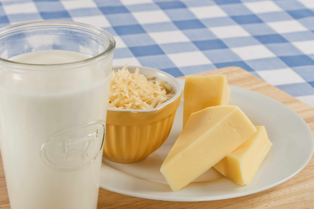 glass of milk and plate of cheese, represents food allergy or lactose intolerence