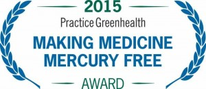 Logo with plant leaves that says: 2015 Practice Greenhealth Making Medicine Mercury Free Award