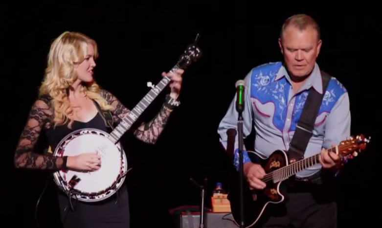 Glen Campbell on stage with daughter