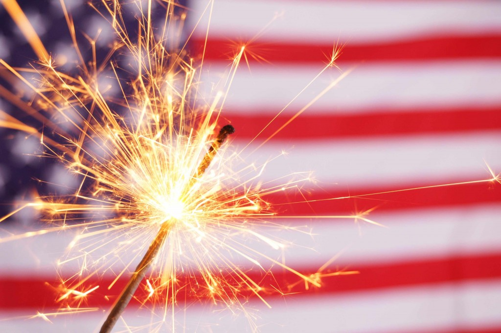 U.S. American flag, July 4th, sparklers, fireworks