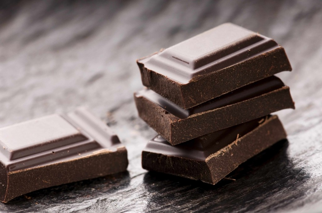 close-up of bars of dark chocolate