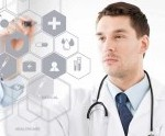Doctor wearing stethoscope pointing to virtual screen