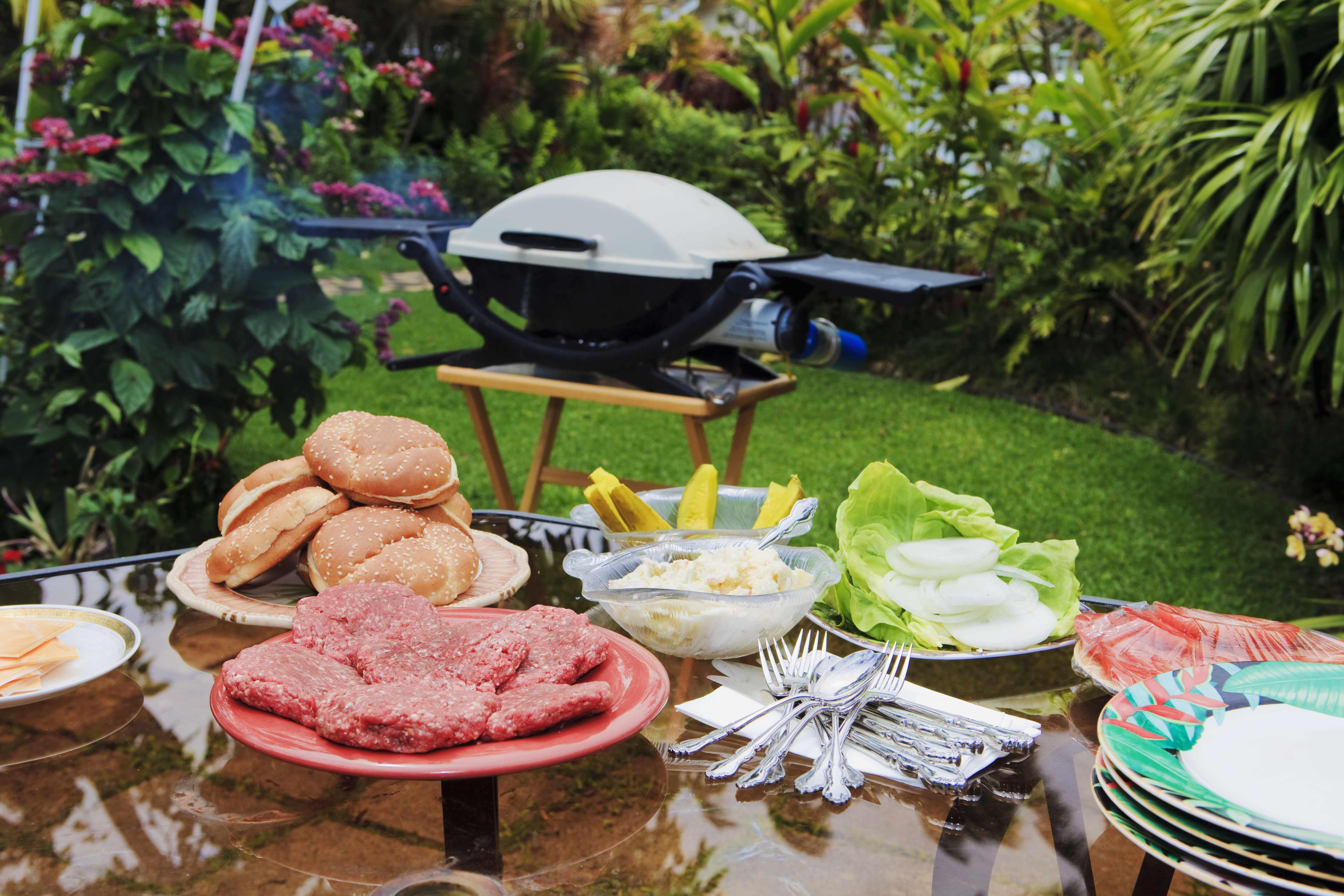 tropical garden bar-b-qu, grilling food