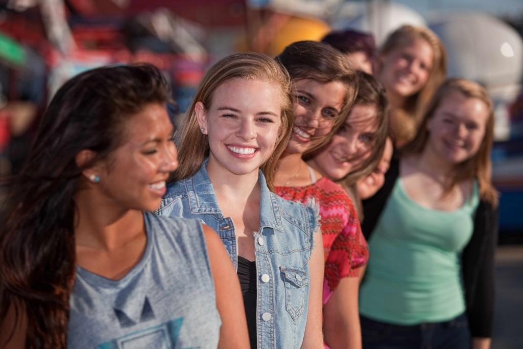young teenage girls smiling, positive body image