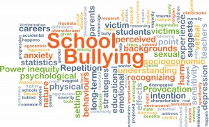word cloud with the words for school bullying