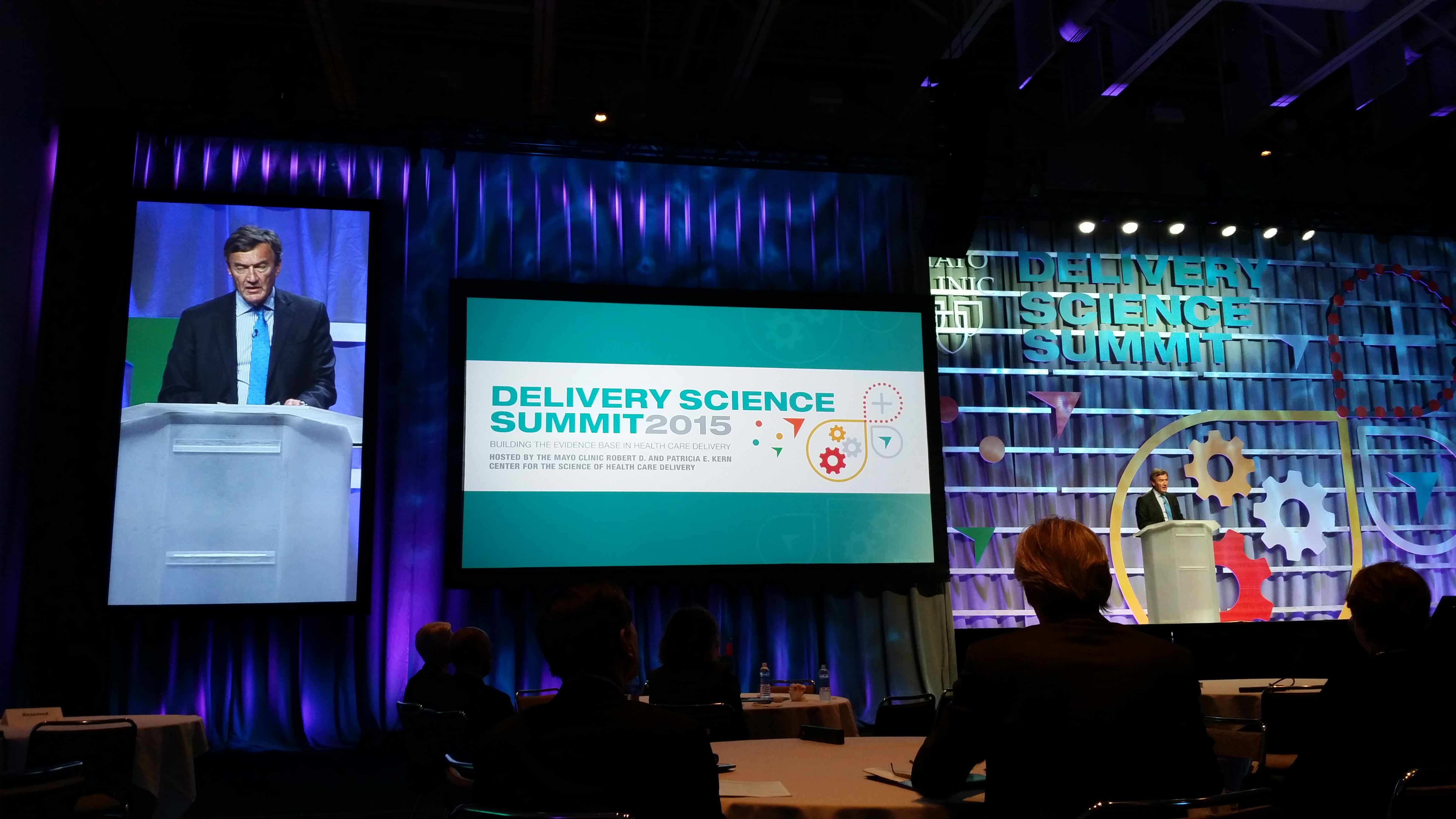 Dr. John Noseworthy addressing the Delivery Science Summit 2015, Center for the Science of Health Care Delivery