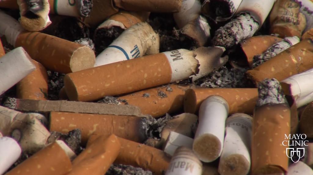 Screen shot cigarette butts