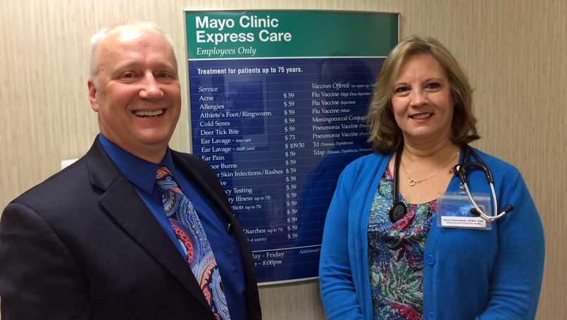 Ron Petrovich and his Express Care nurse practitioner Dawn Kaderabek