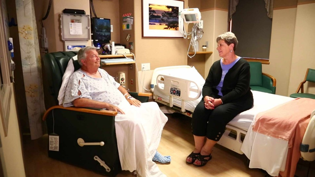 Bob in the hospital after stroke with his wife Ruth