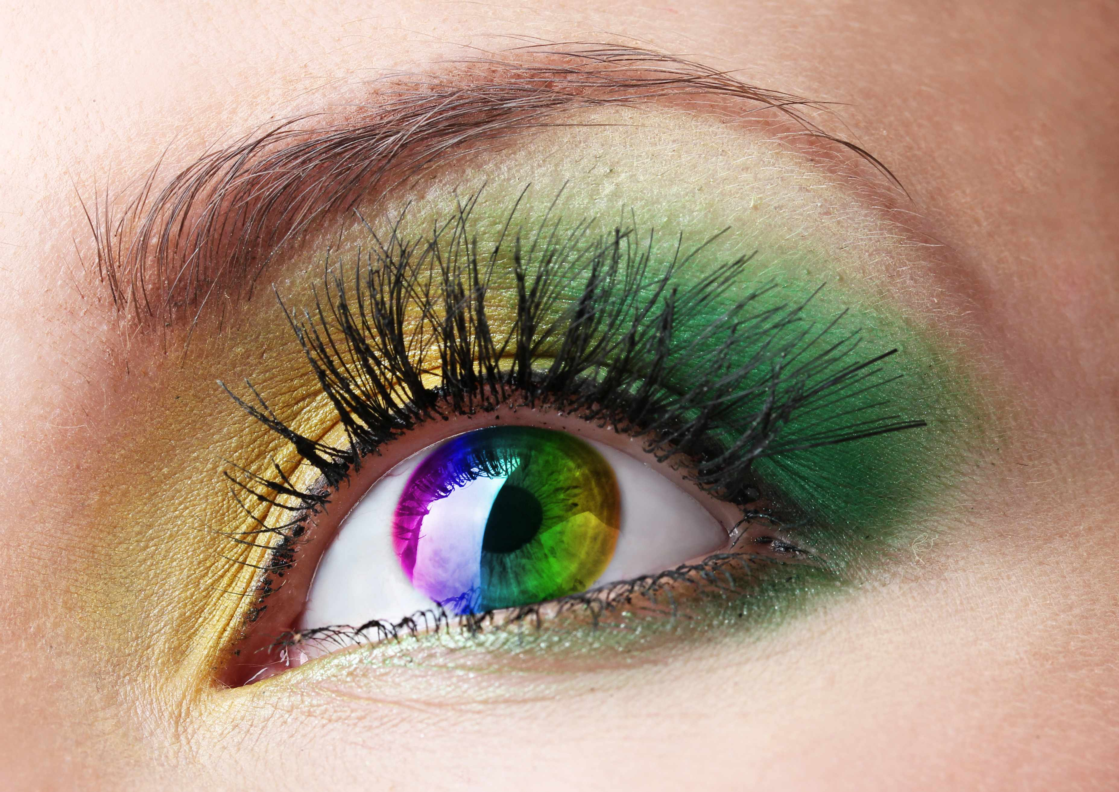 close up of eye with colored contact lens