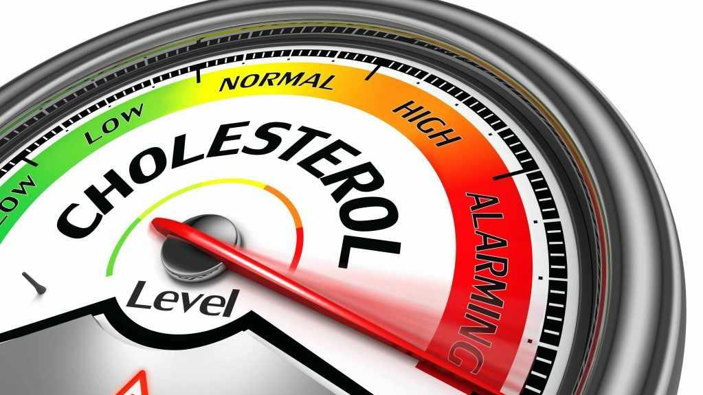 illustration of a gauge showing alarming level of cholesterol