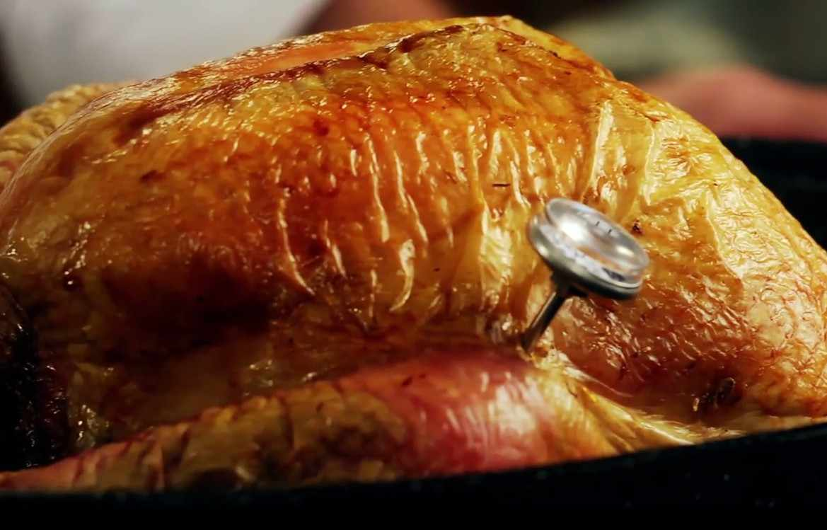 turkey in a roasting pot with a thermometer