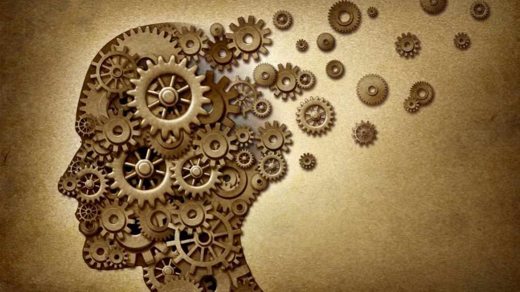illustration of brain made of clock parts